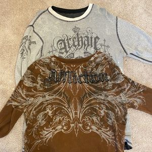 Two long sleeve Affliction shirts